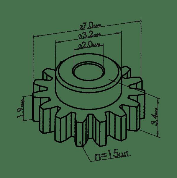 Шестеренка одометра Ауди 80 размер